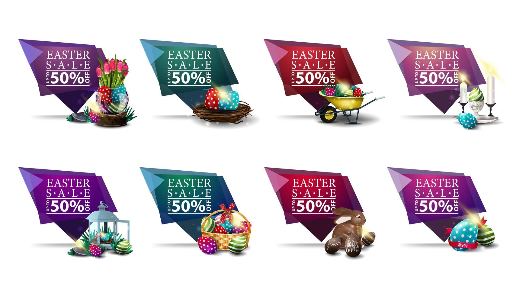 Collection of geometric discount banners with Easter icons vector