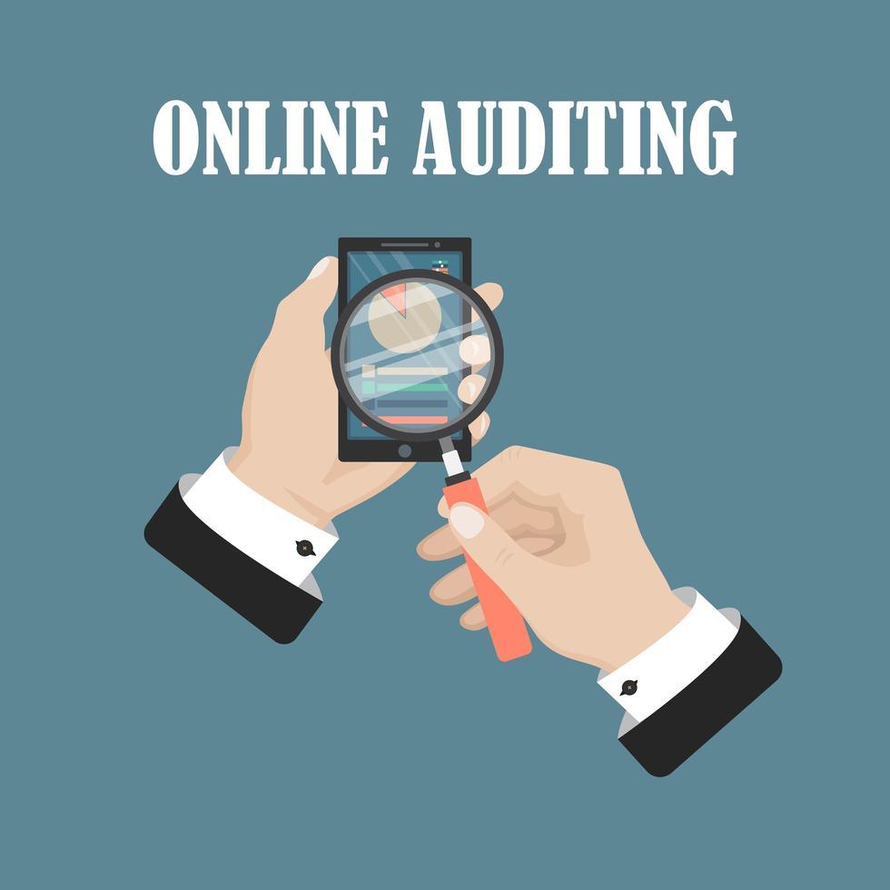proceso fiscal de auditoría online vector