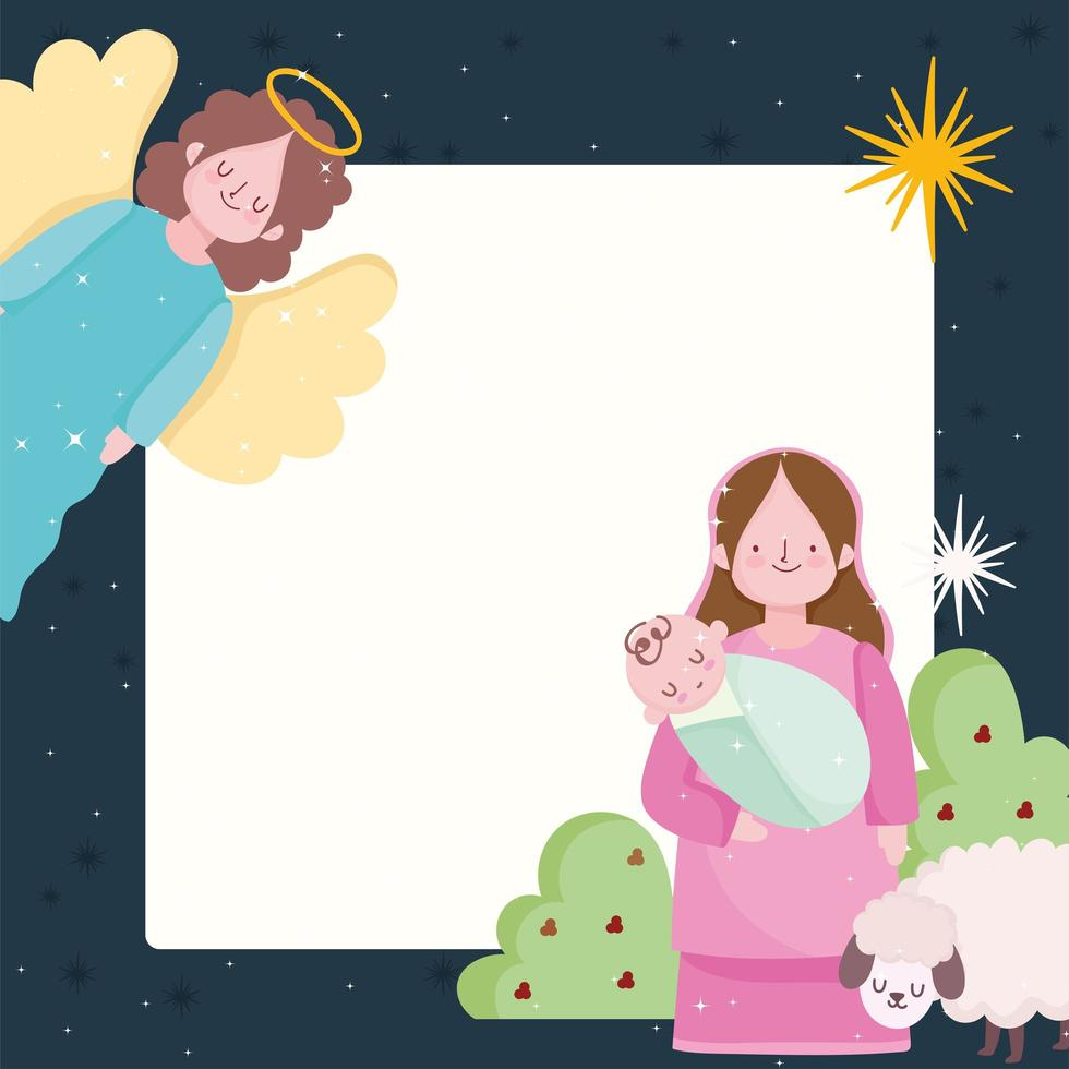 natividad, pesebre maría con niño jesús y ángel vector