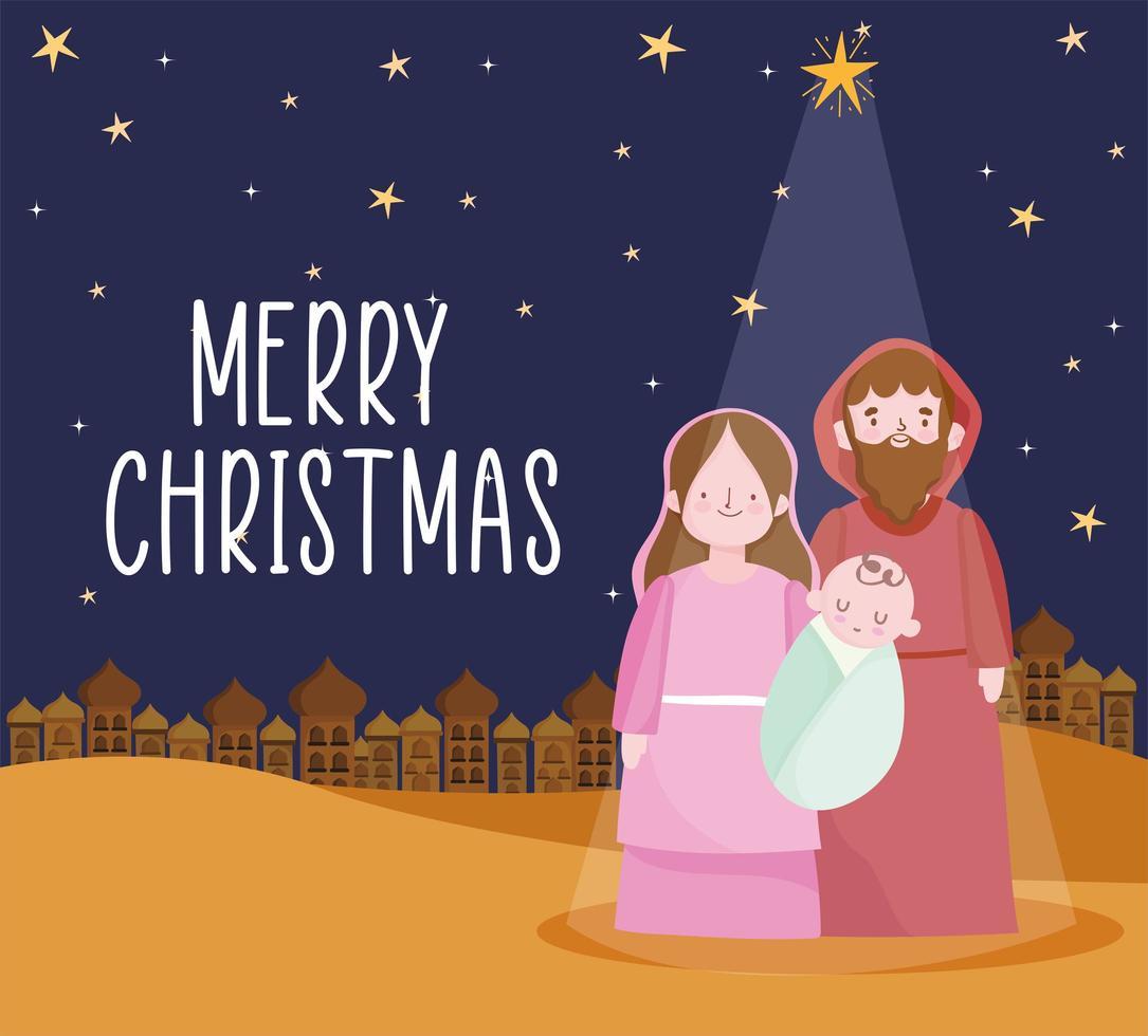 pancarta de feliz navidad y natividad con la sagrada familia vector