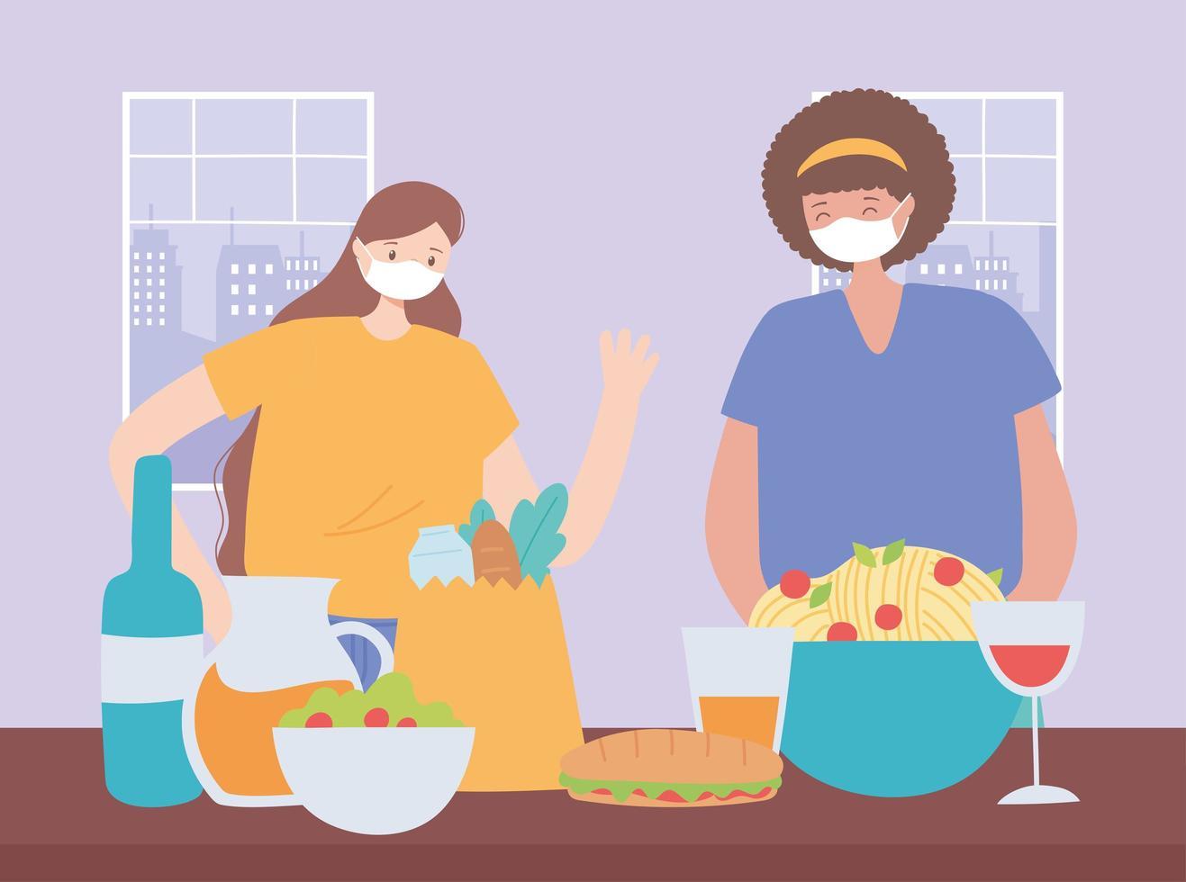 mujeres que usan mascarilla con comida y bebida vector