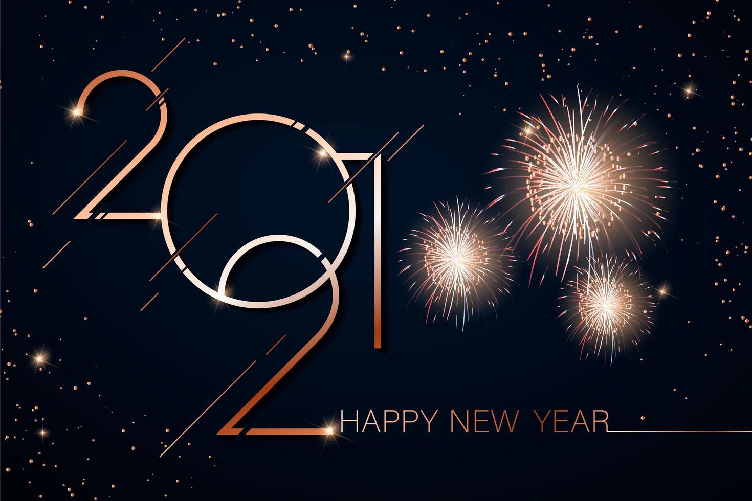 oro feliz año nuevo 2021 vector