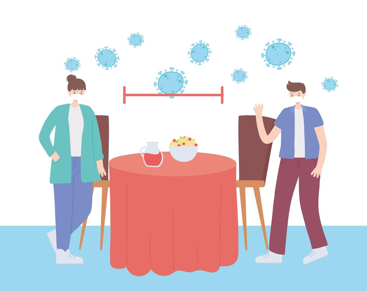 Restaurant on coronavirus prevention with social distancing vector