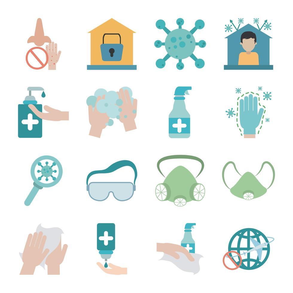 conjunto de iconos planos de prevención de la pandemia de coronavirus vector