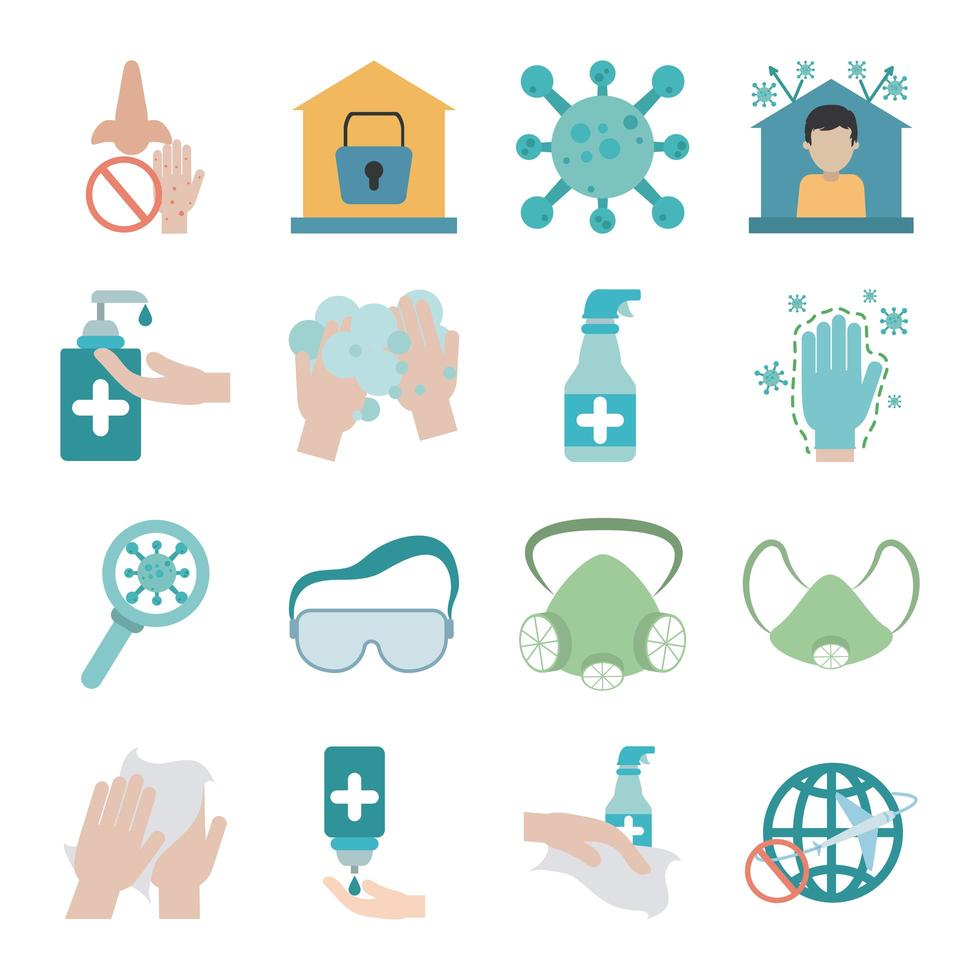 Coronavirus pandemic prevention flat icon set vector