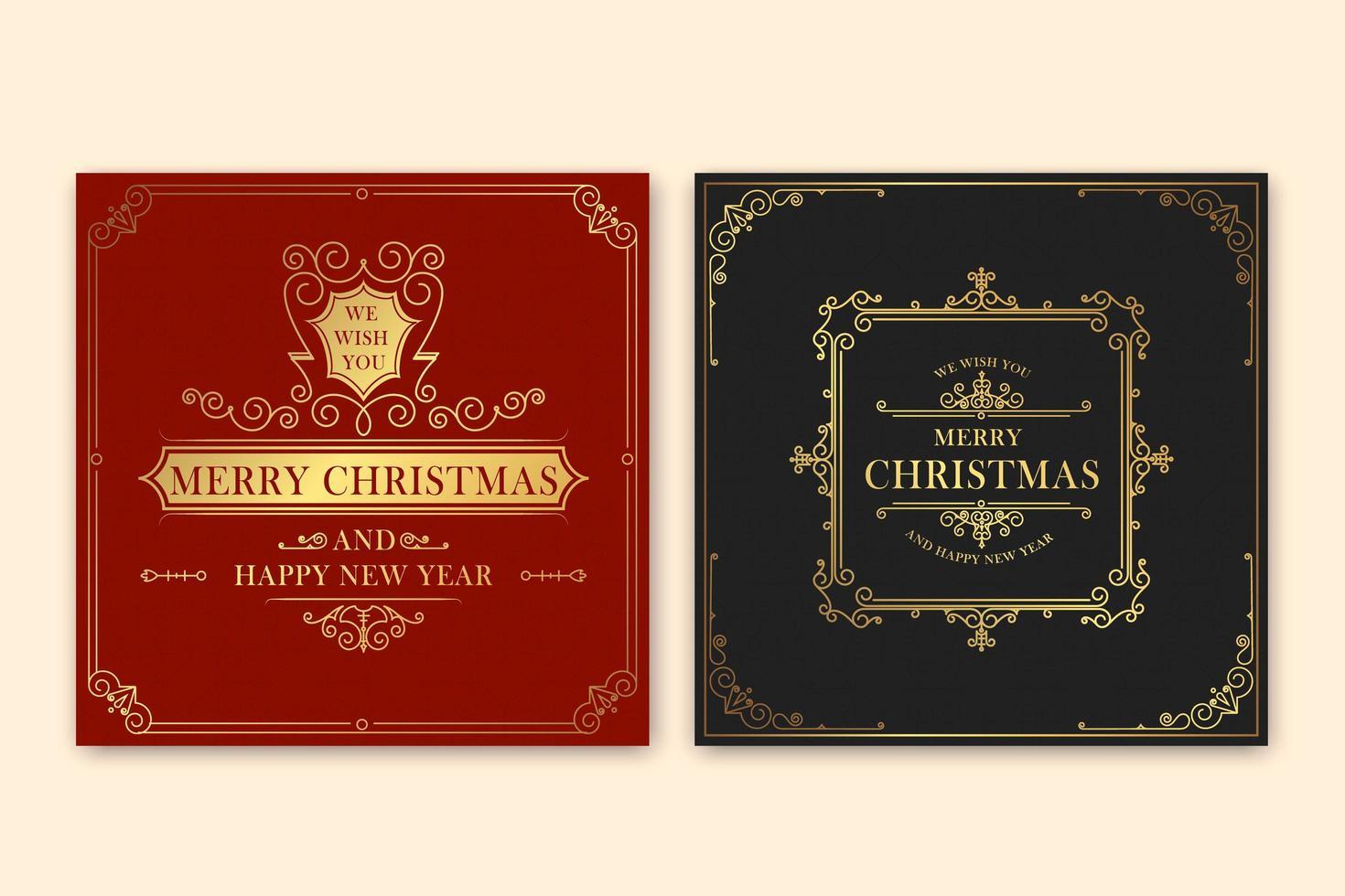 Vintage Merry Christmas greeting card vector