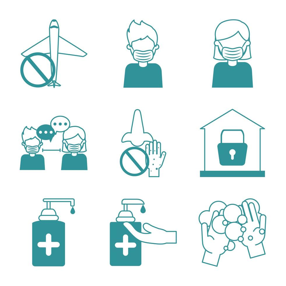 conjunto de iconos de prevención de pandemia de coronavirus vector
