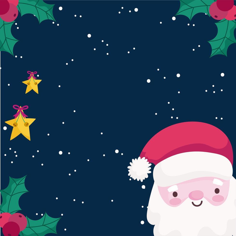 banner de feliz navidad con santa y estrellas vector