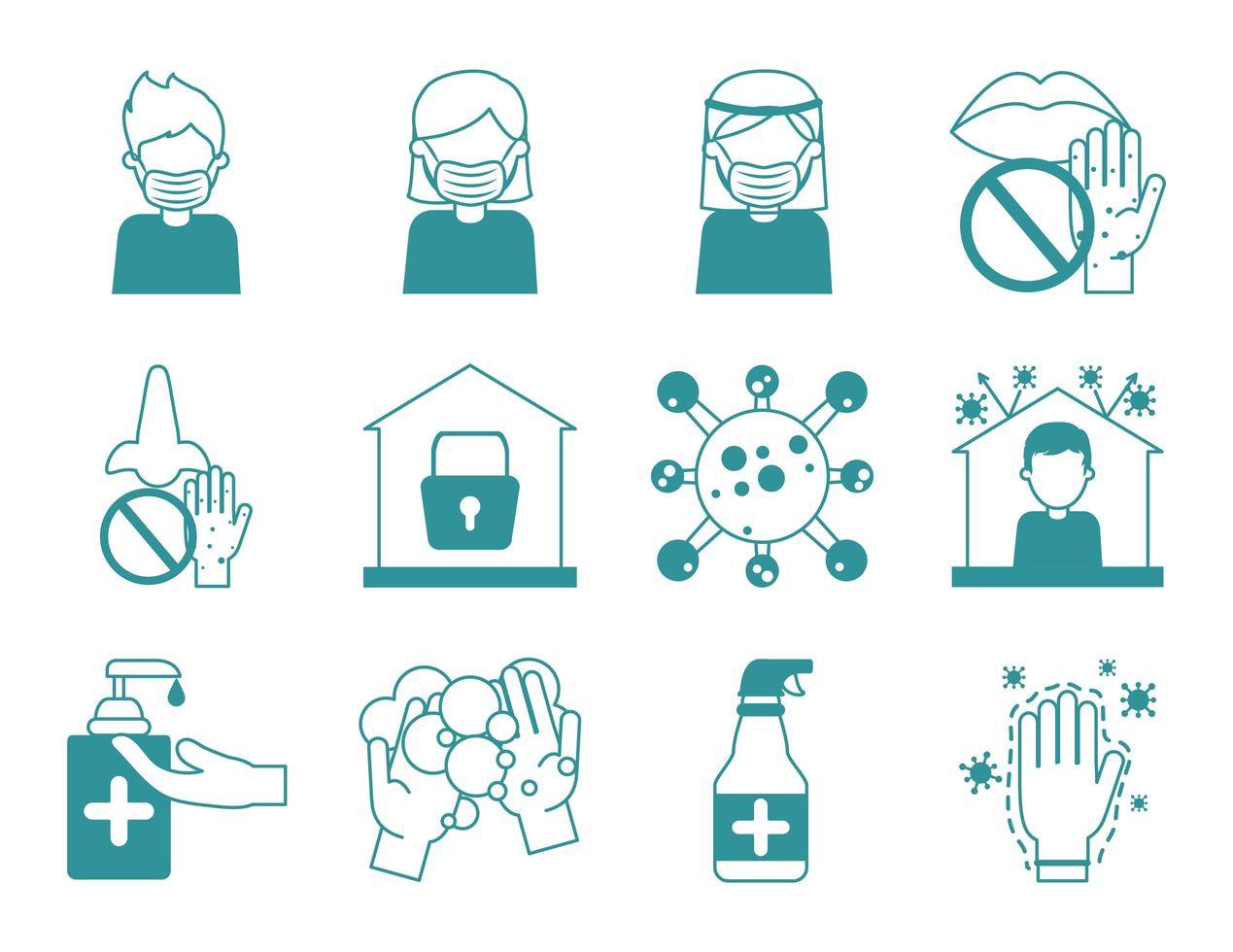 Coronavirus pandemic prevention icon set vector