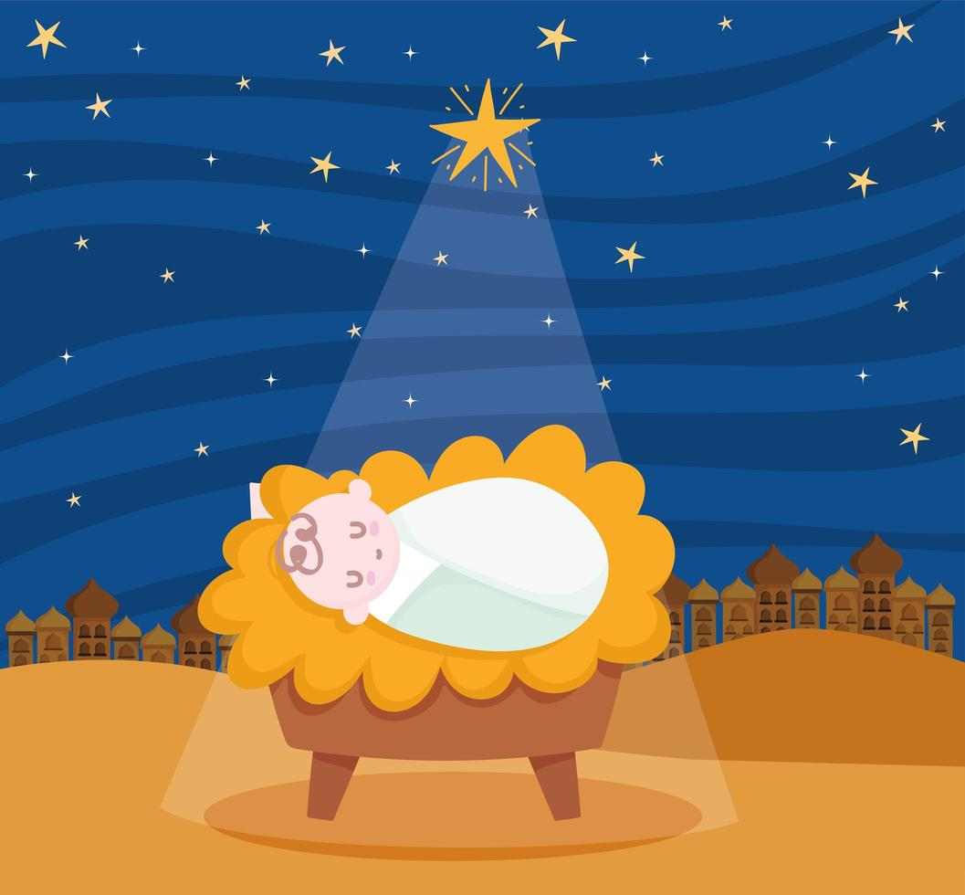 feliz navidad y belén con el niño jesús vector