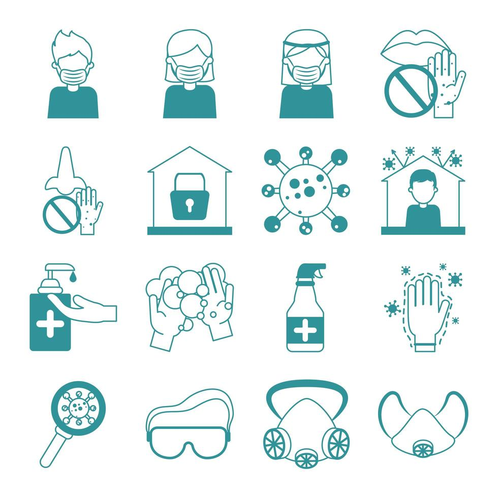 Coronavirus pandemic prevention icon set vector
