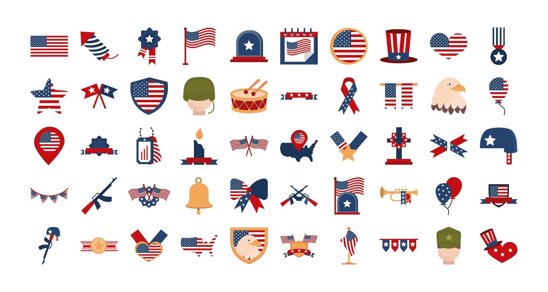 Memorial Day, American national celebration icon set vector