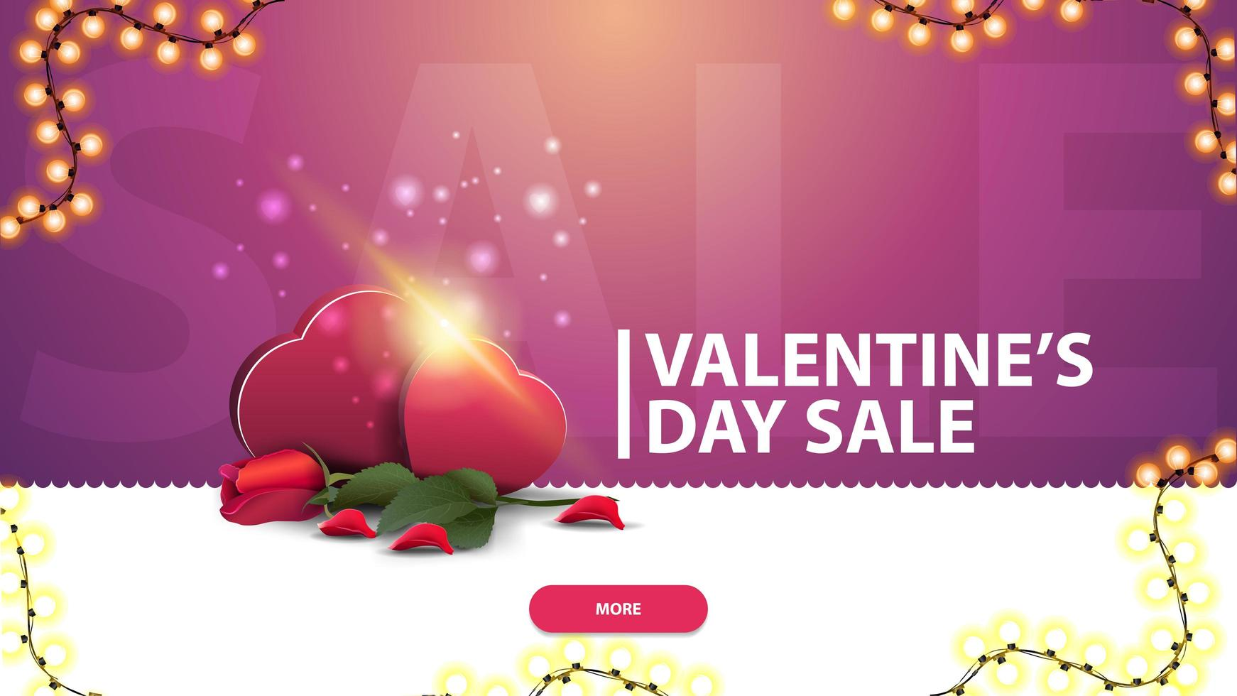 Valentine's day sale, pink discount banner for website vector