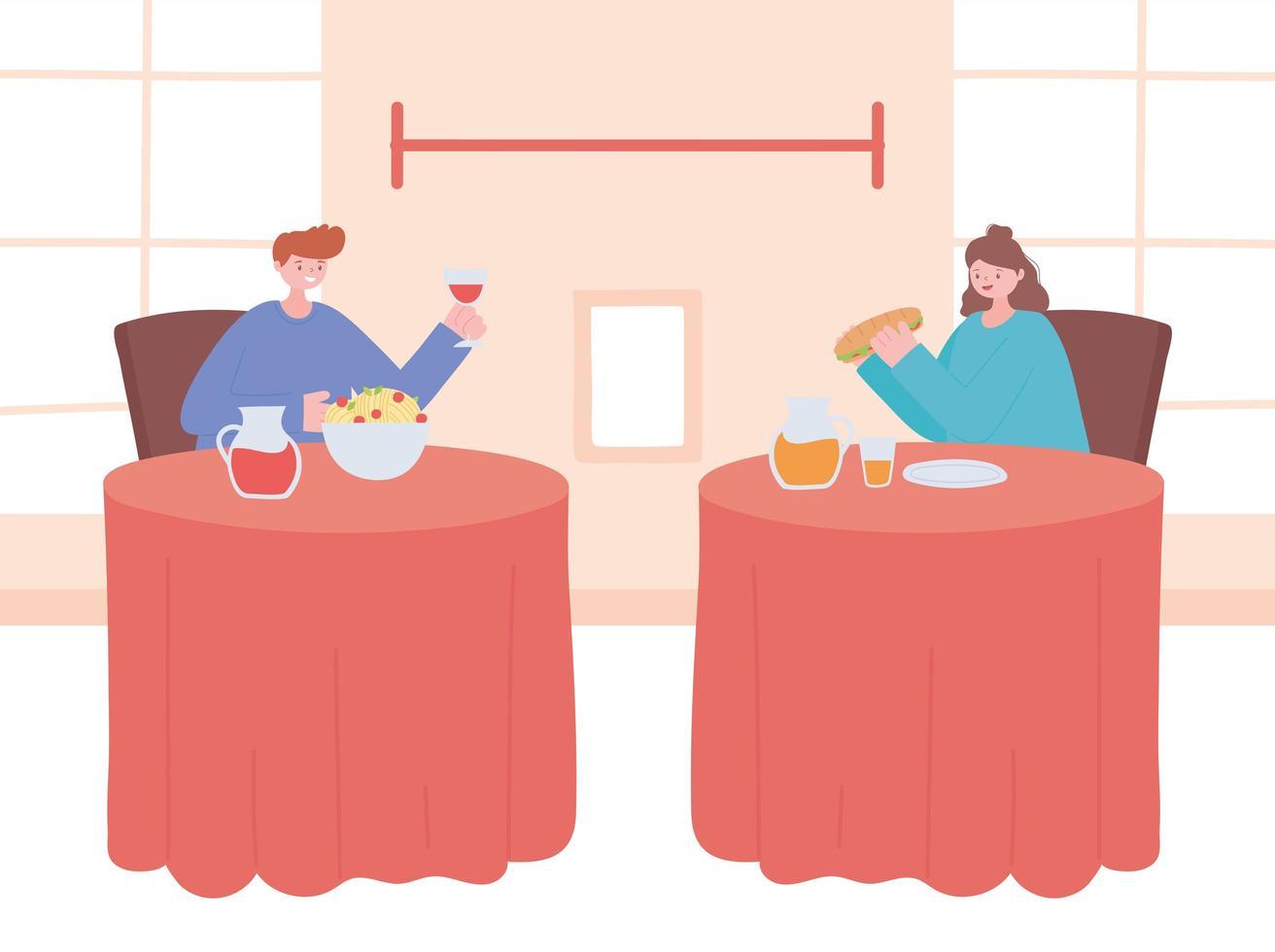 Restaurant on coronavirus prevention with social distancing dinner vector