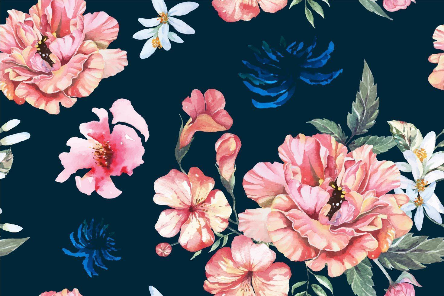 Seamless Peony Pattern Painted with Watercolor vector