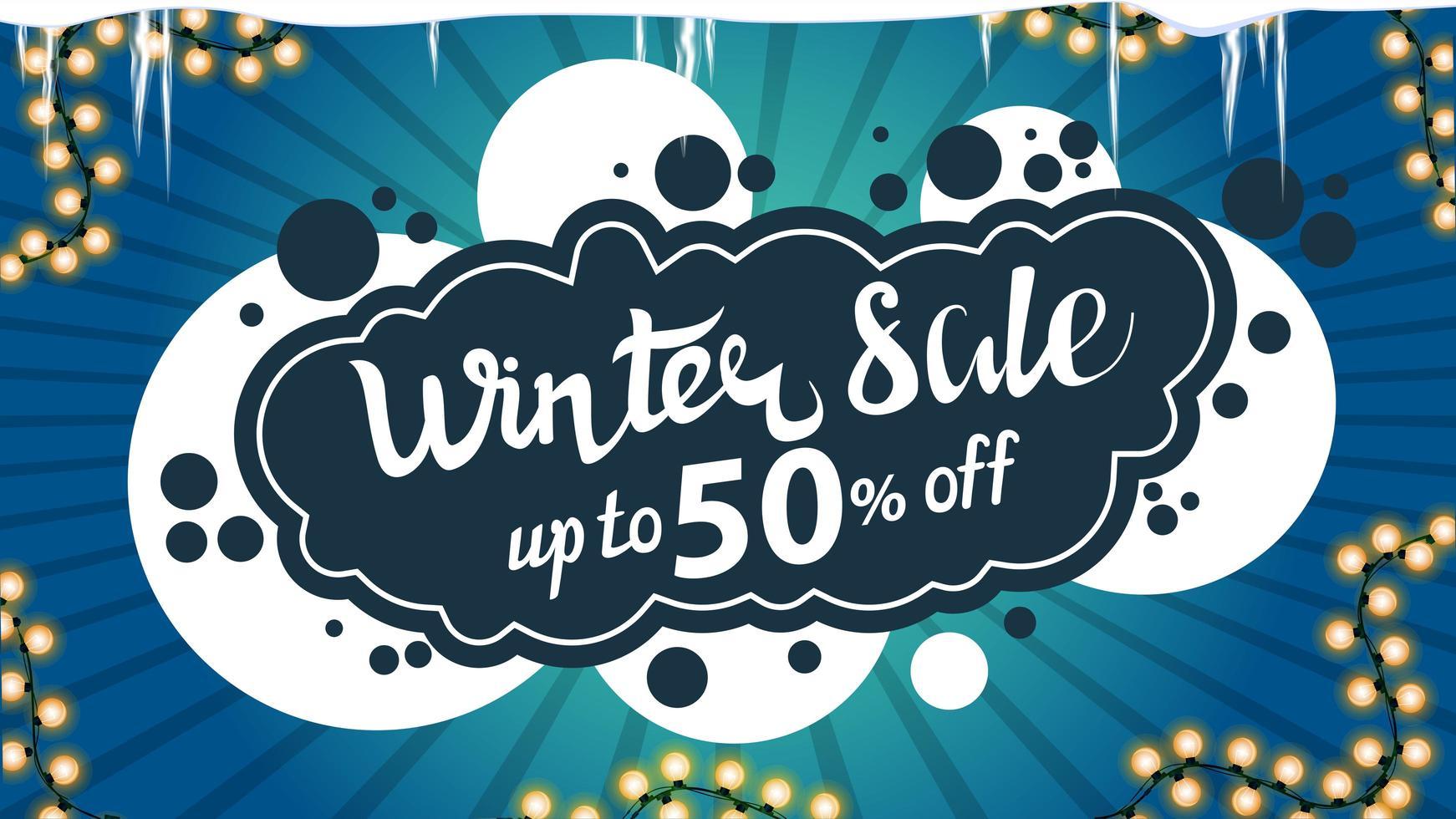 Venta de invierno, banner de descuento azul con guirnalda. vector