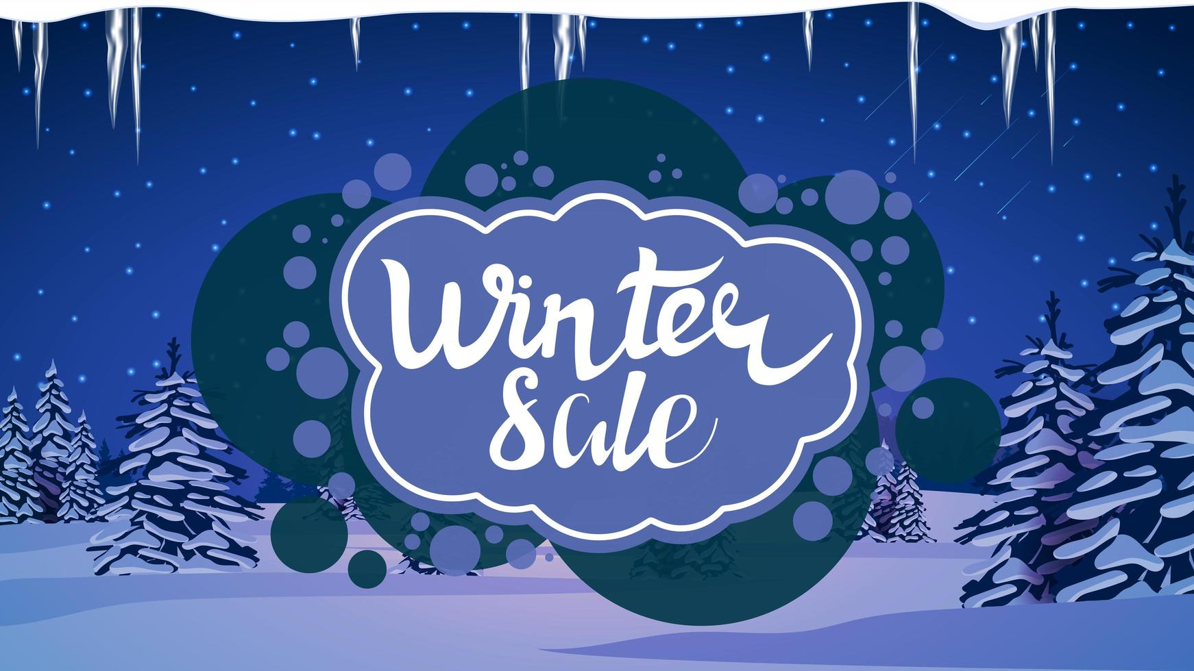 venta de invierno, banner de descuento azul moderno vector