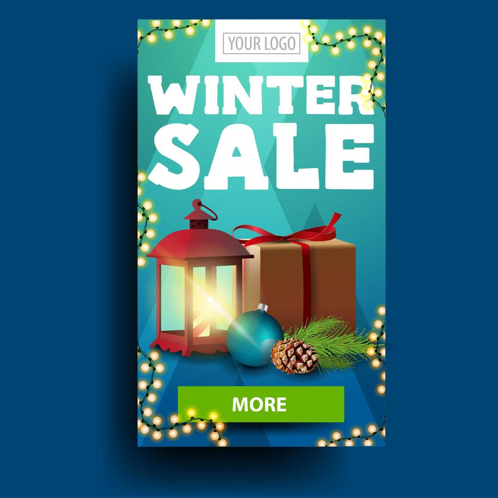 Modern blue vertical winter discount banner with present vector