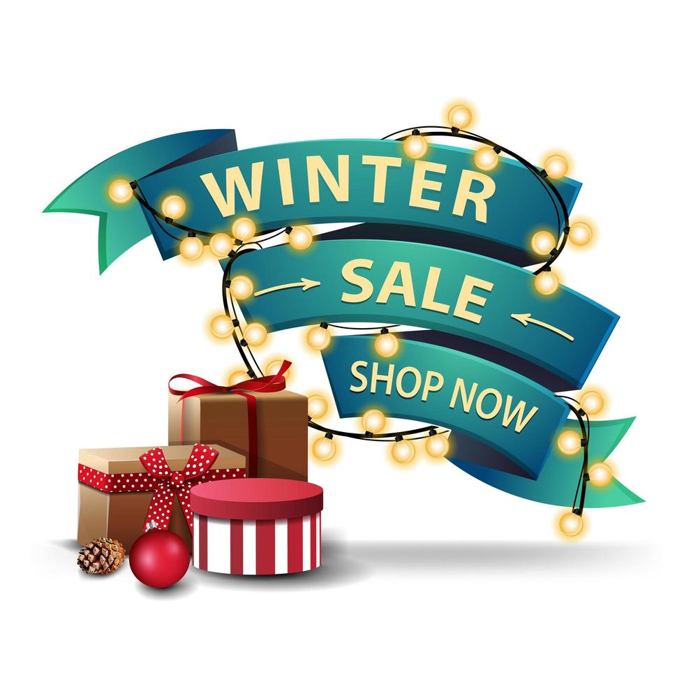 Winter discount banner in the form of ribbon vector