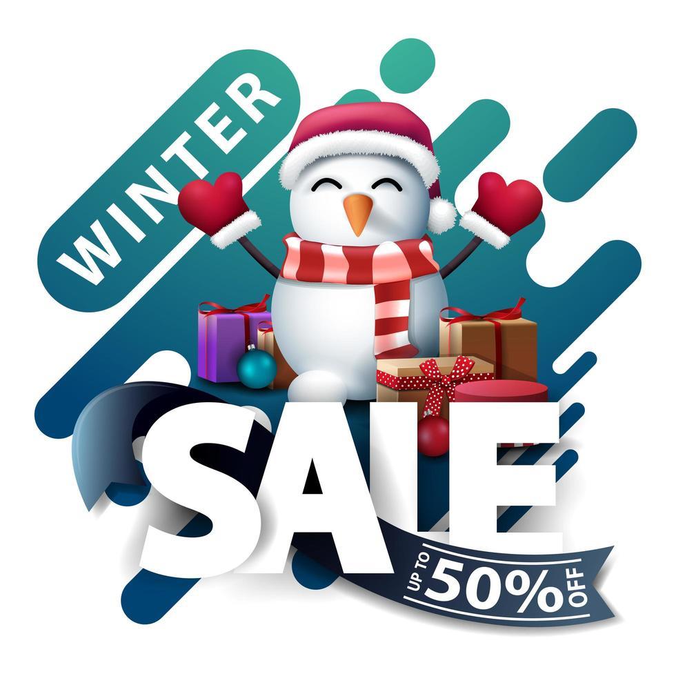 Winter sale, discount pop up for website vector