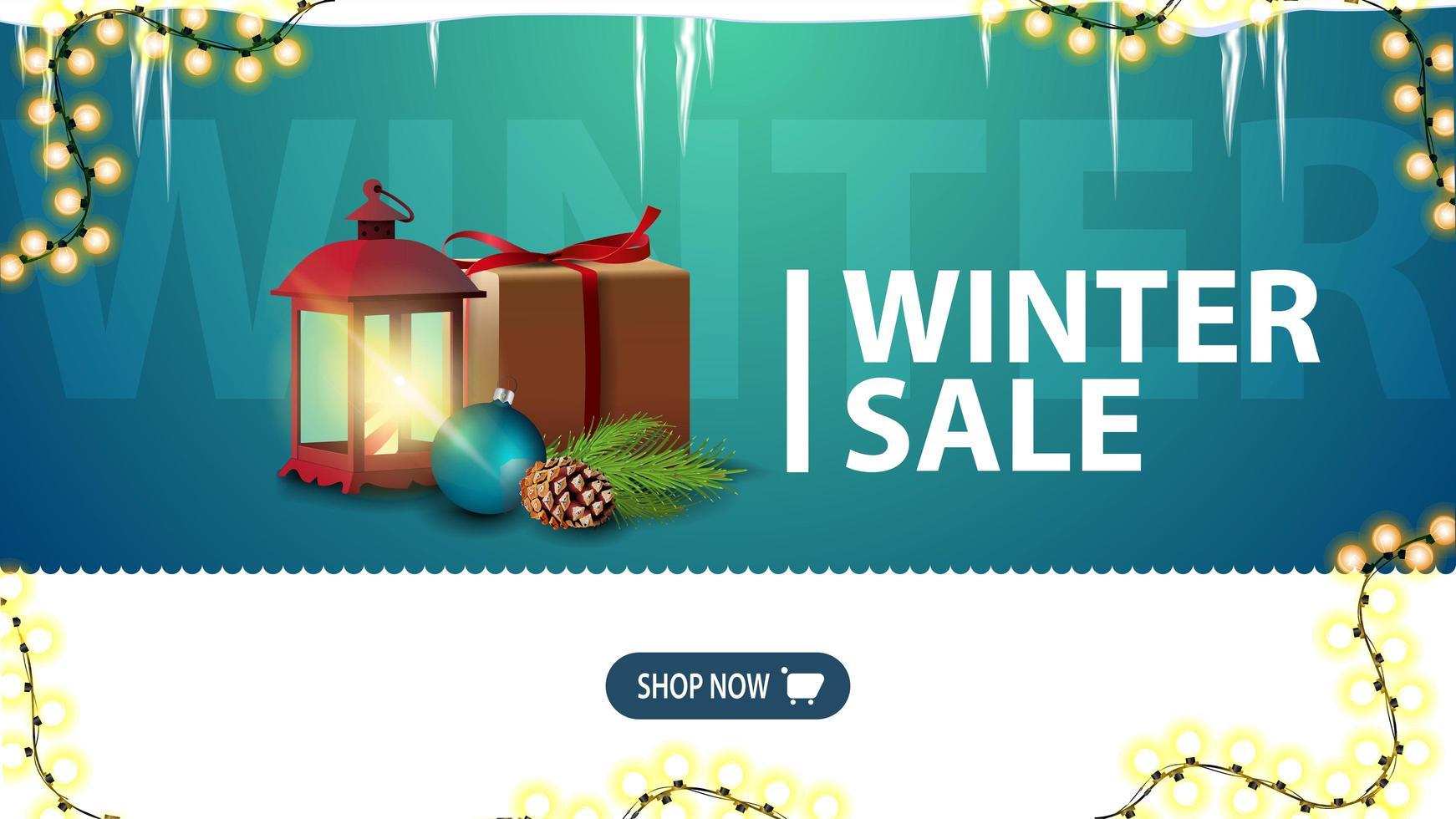 Winter sale, green discount banner for website vector