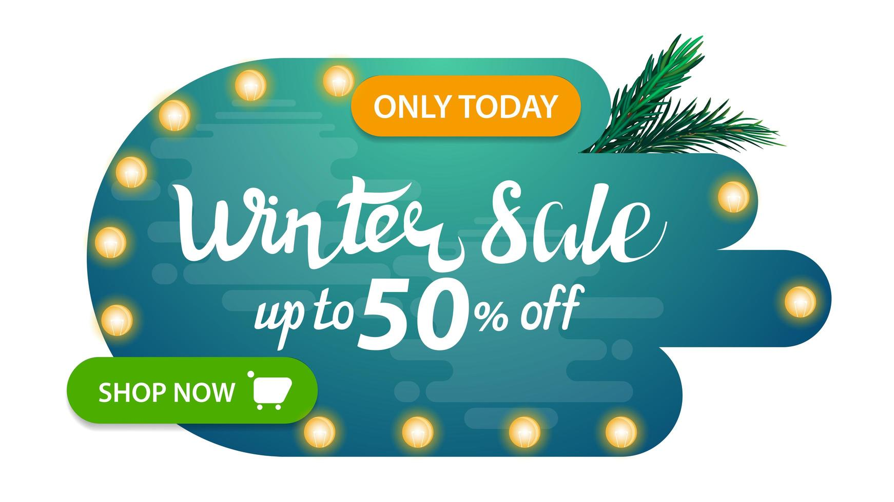 Winter sale, modern abstract shape discount banner vector