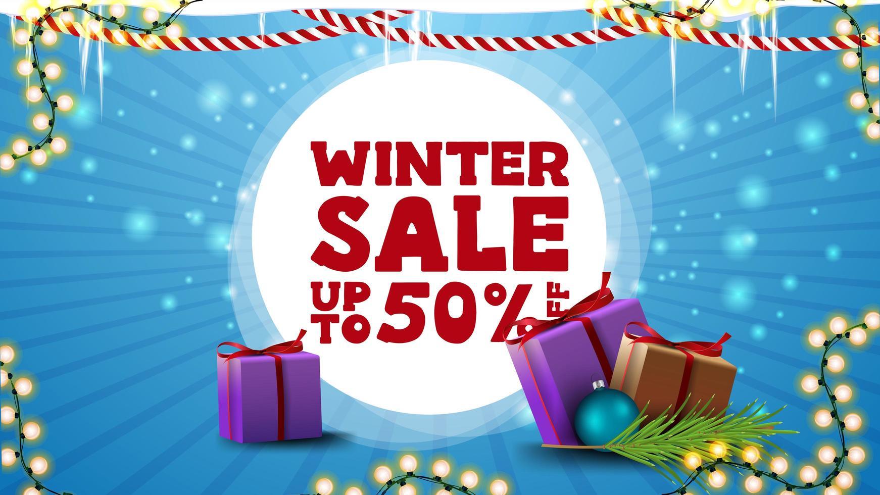 Winter sale, blue discount banner for website vector