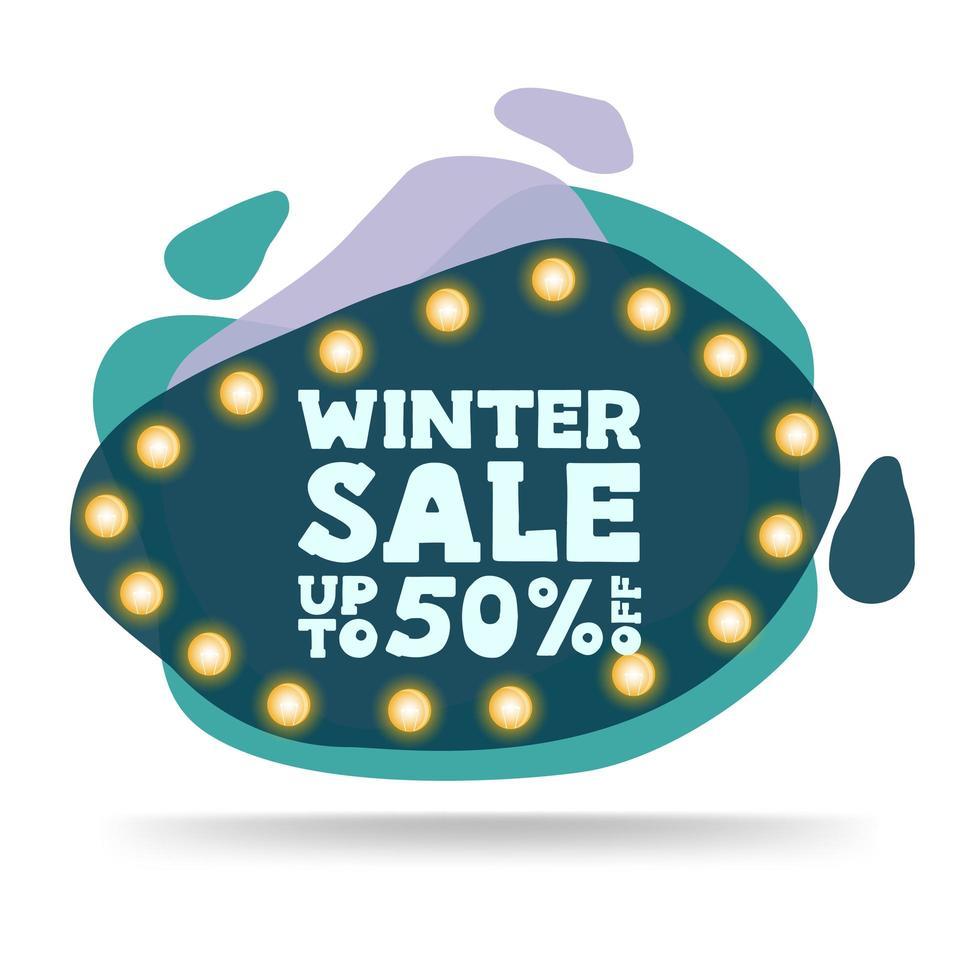 Winter sale, modern green discount banner vector