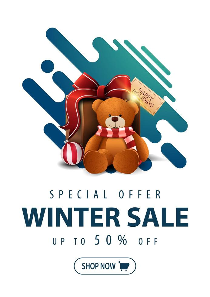 Winter sale, discount banner in minimalistic style vector