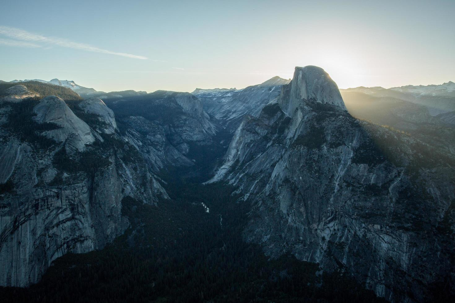 Beautiful Yosemite Valley at the peak of sunrise photo