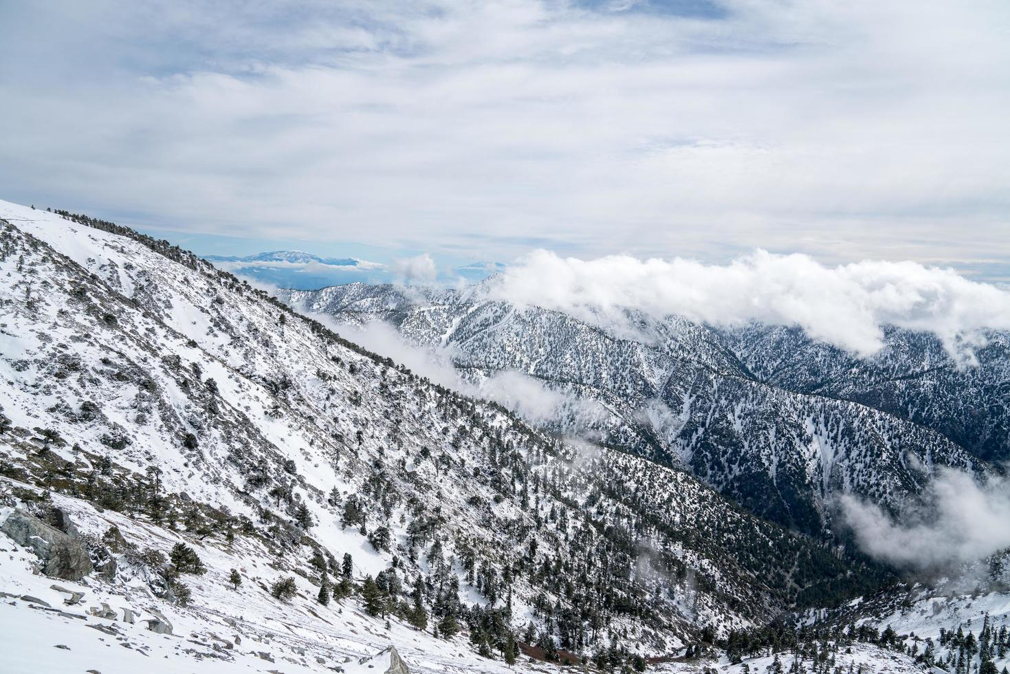 Mt. Baldy Bowl covered in snow in California photo
