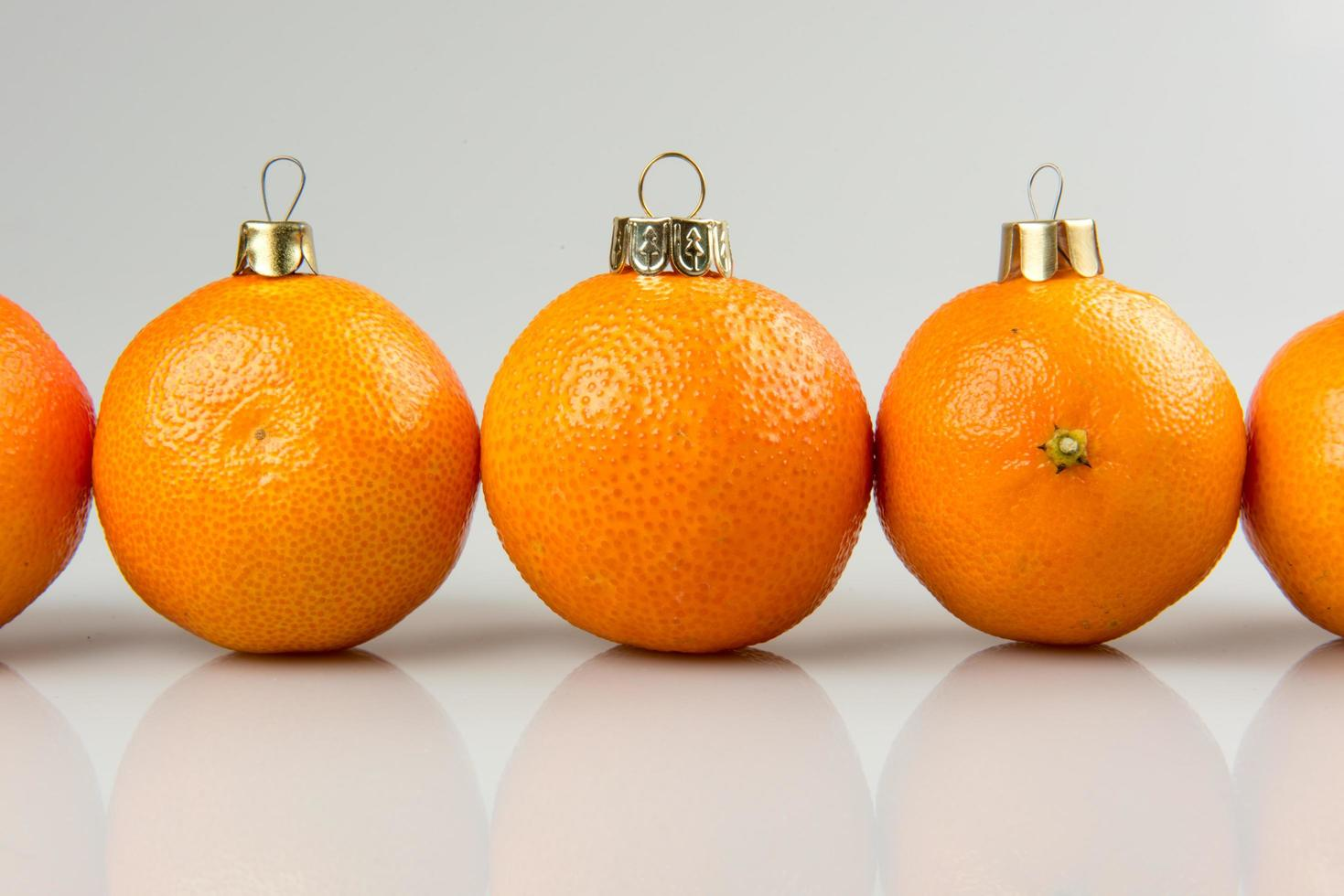 Close-up of tangerine baubles photo