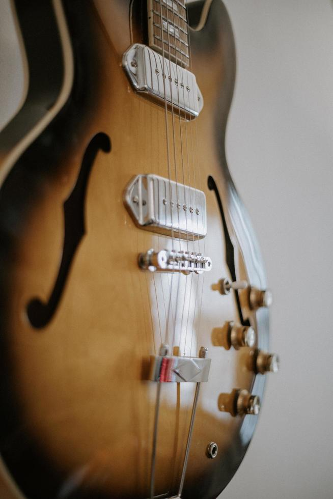 Brown jazz guitar photo