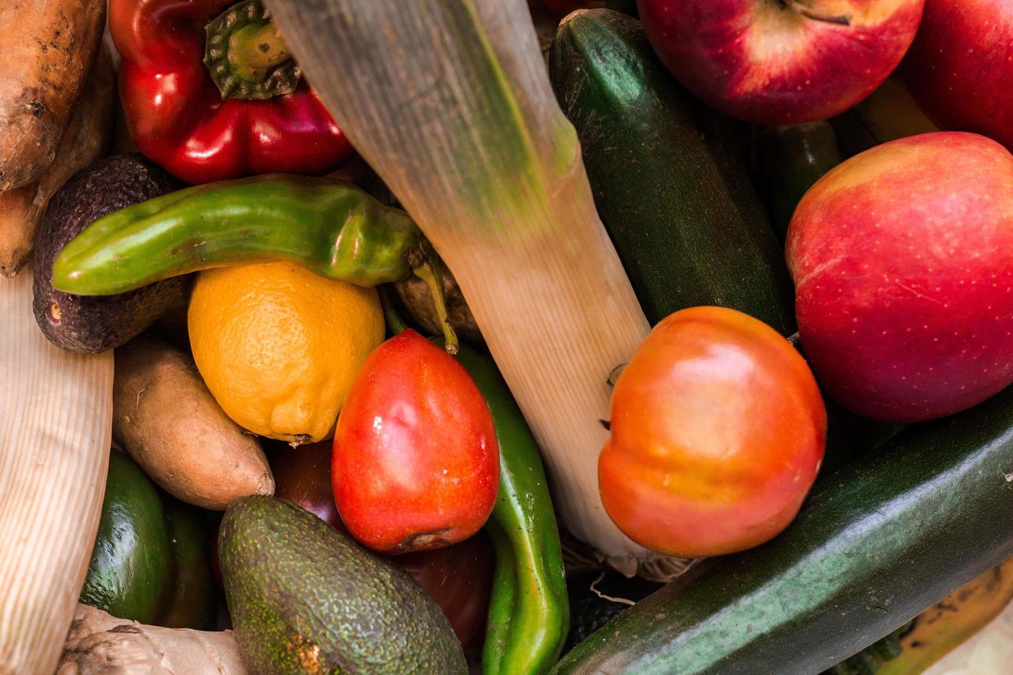 vista superior de verduras foto