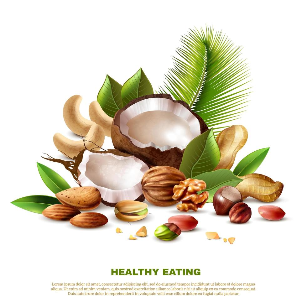 Realistic Healthy Eating Template Banner vector
