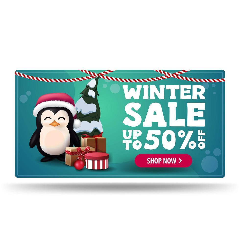 Winter sale, green discount banner with penguin vector