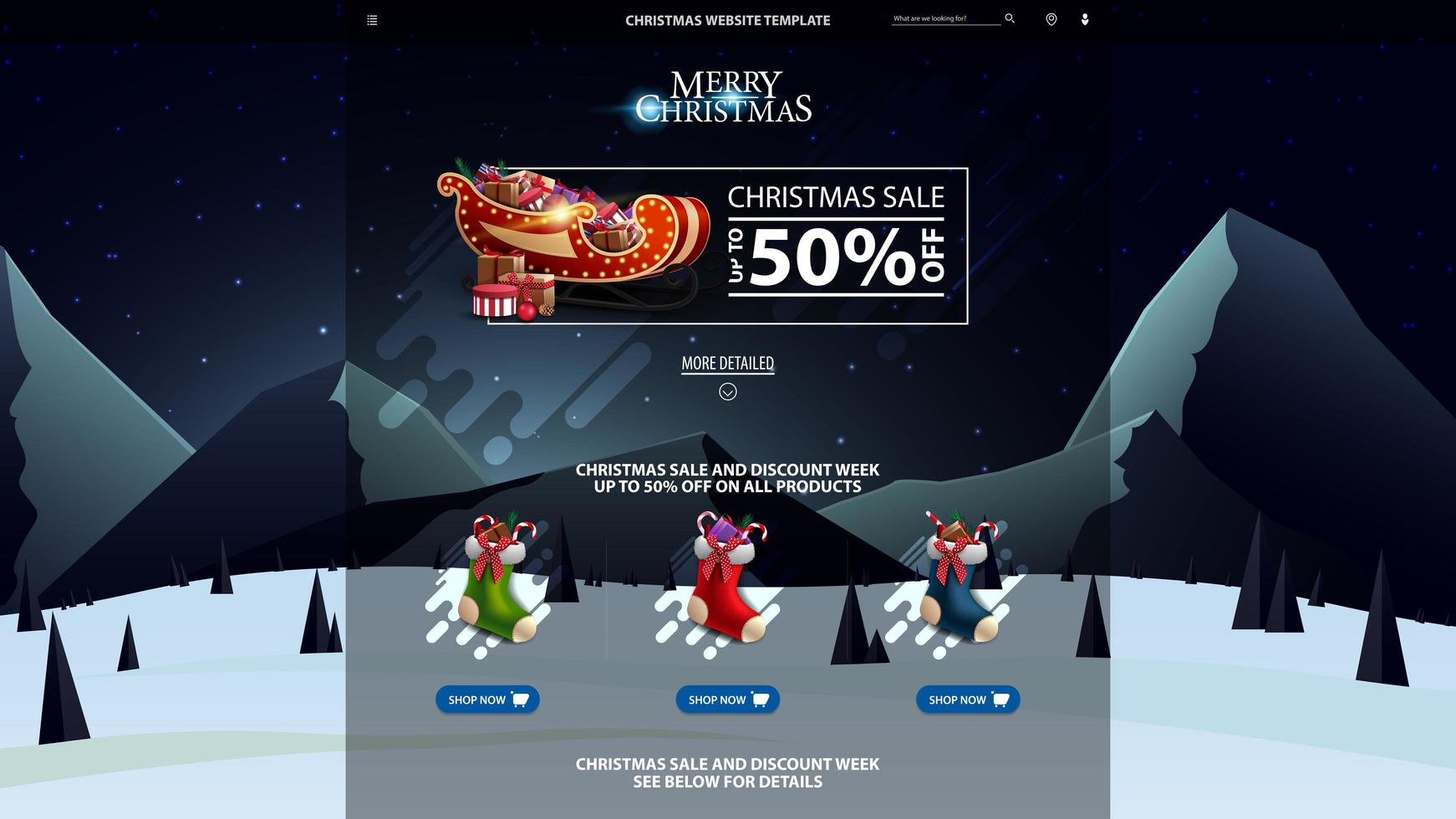Christmas website template with discount banner vector