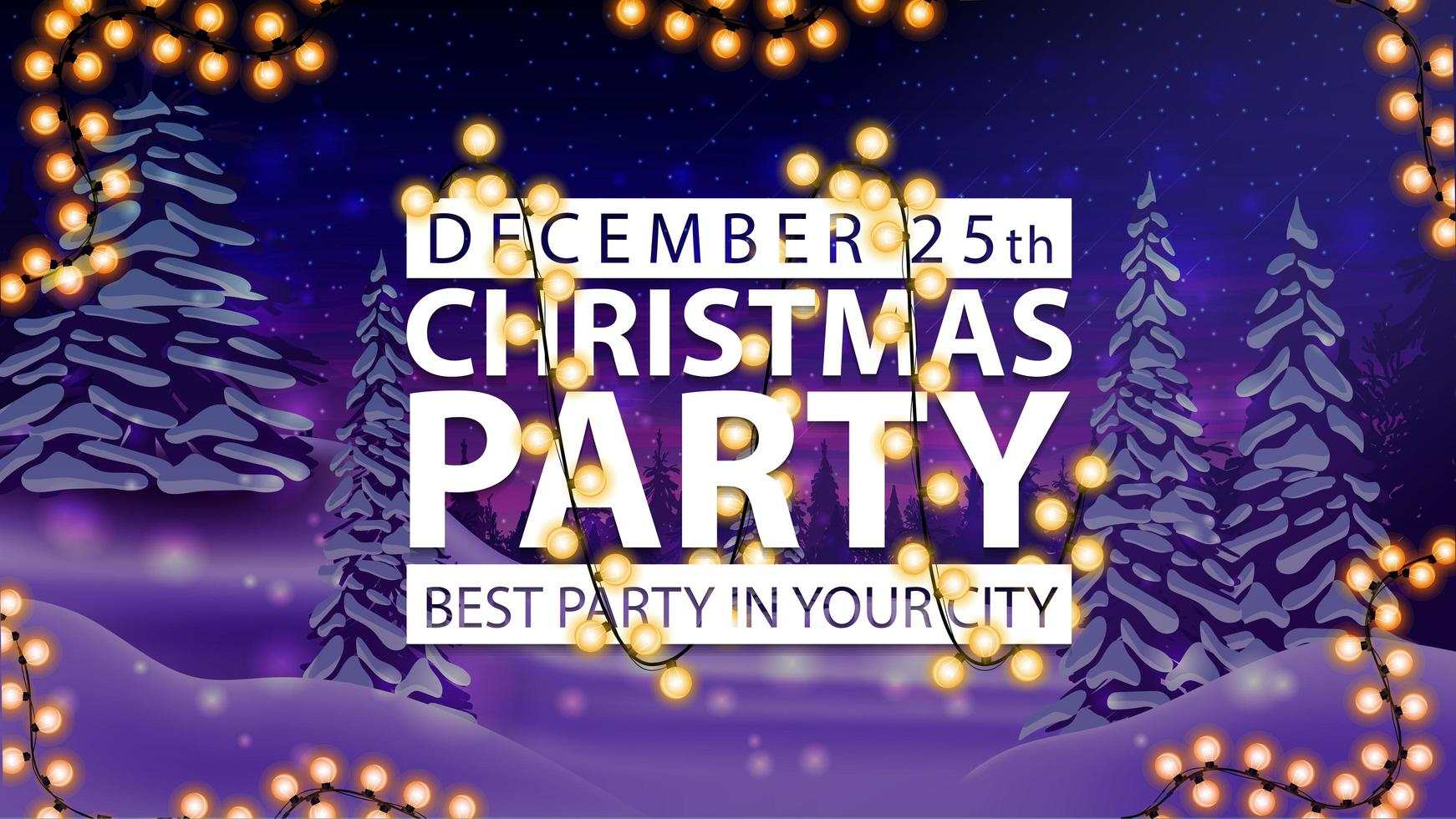 Christmas party, white sign wrapped with a garland vector