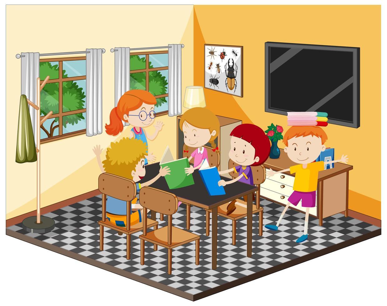 Happy children doing homework in the living room vector