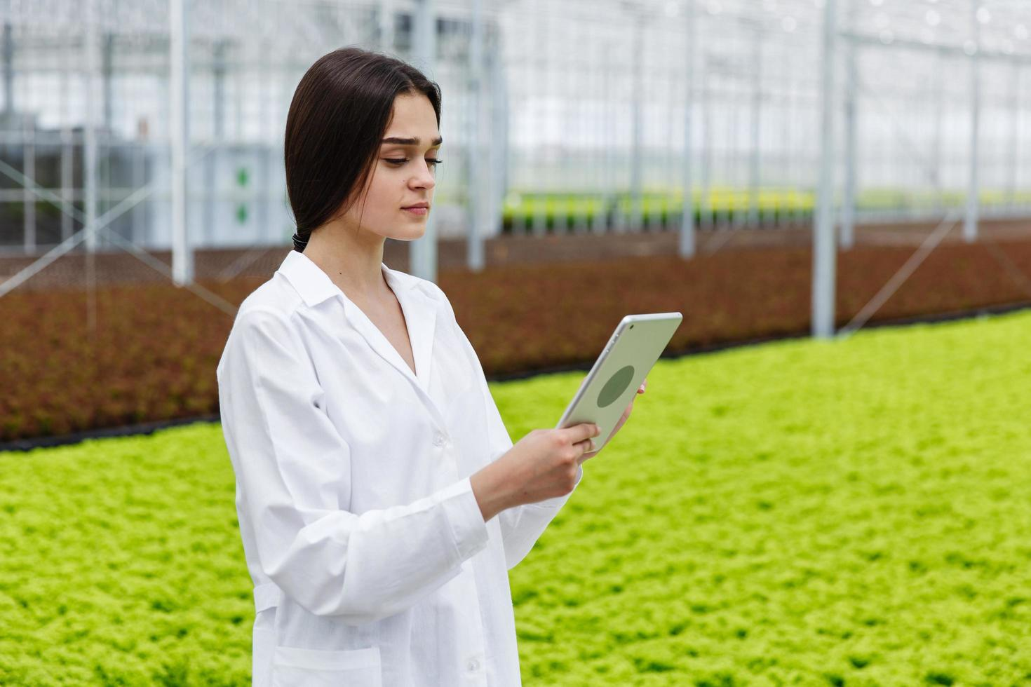 Female researcher holds a tablet photo