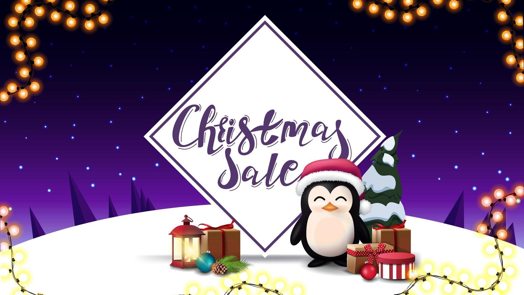 Venta de navidad, banner de descuento con pingüino. vector