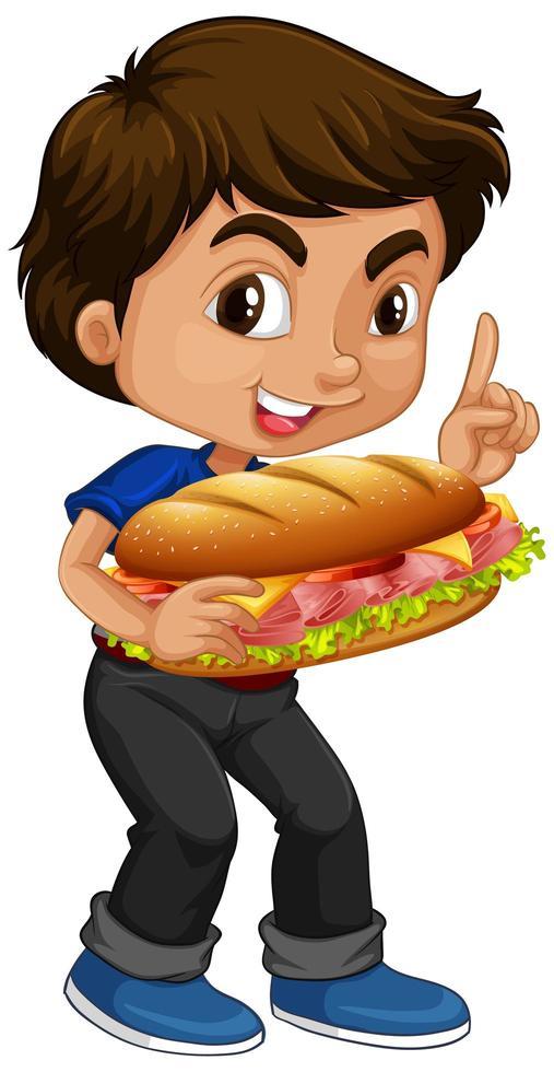 chico lindo sosteniendo sándwich vector