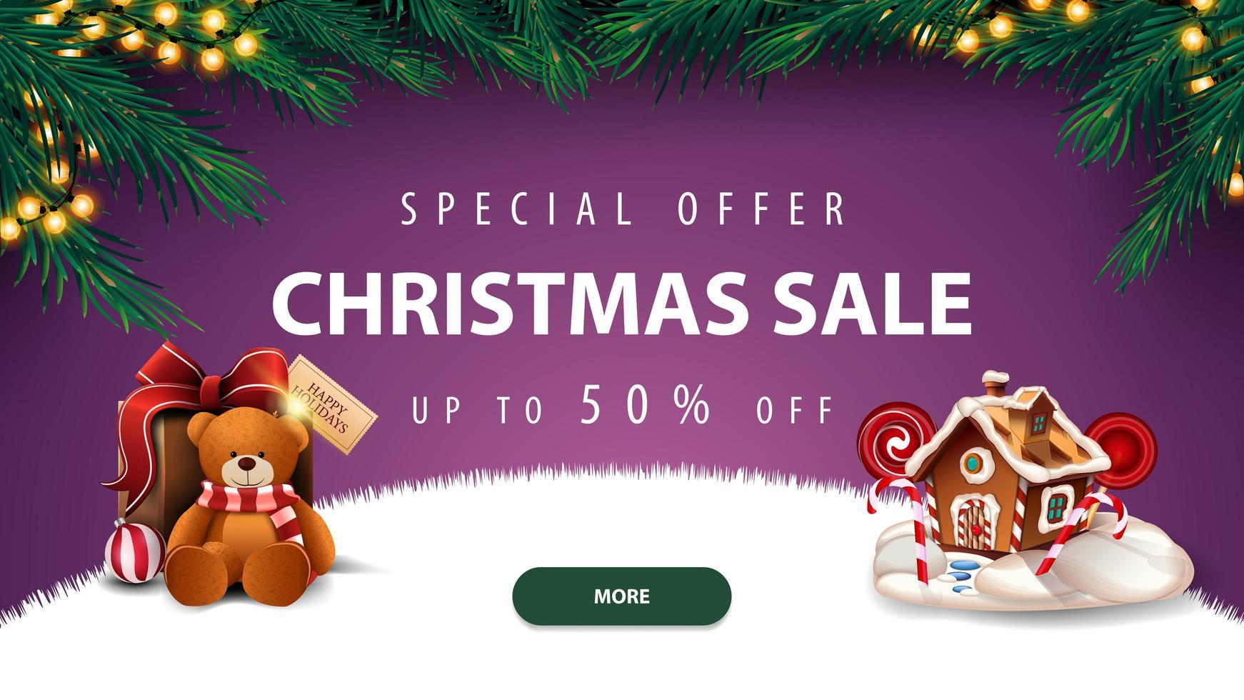 venta de navidad, banner de descuento morado vector
