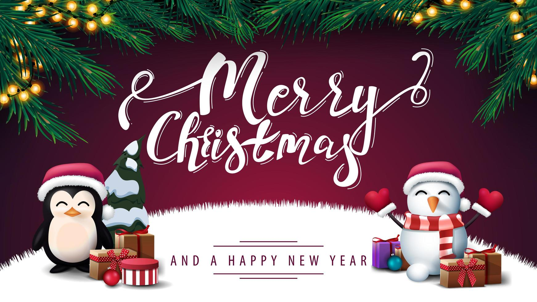 Merry Christmas and Happy New Year purple postcard vector