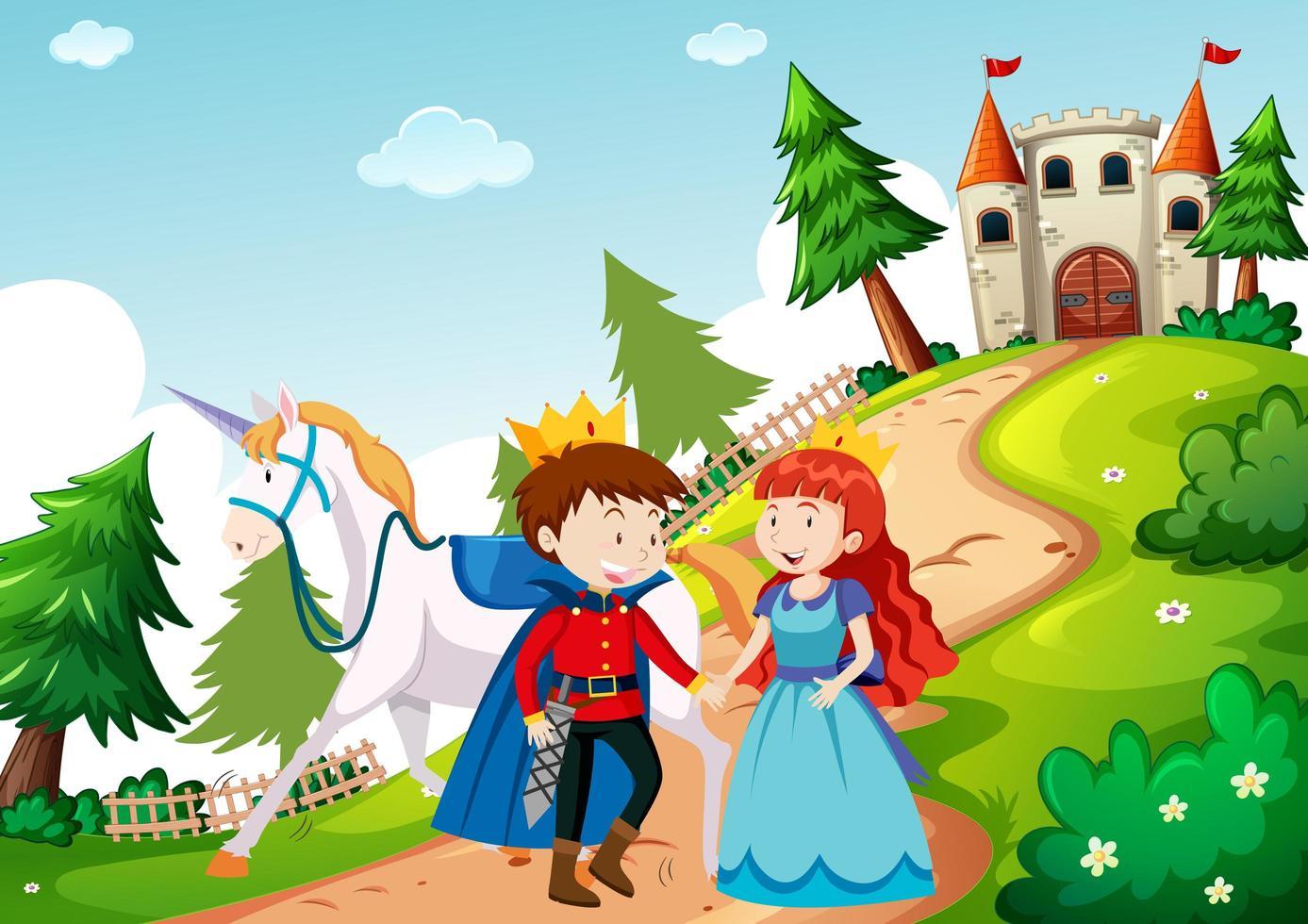príncipe y princesa en la escena de la tierra de cuento de hadas vector