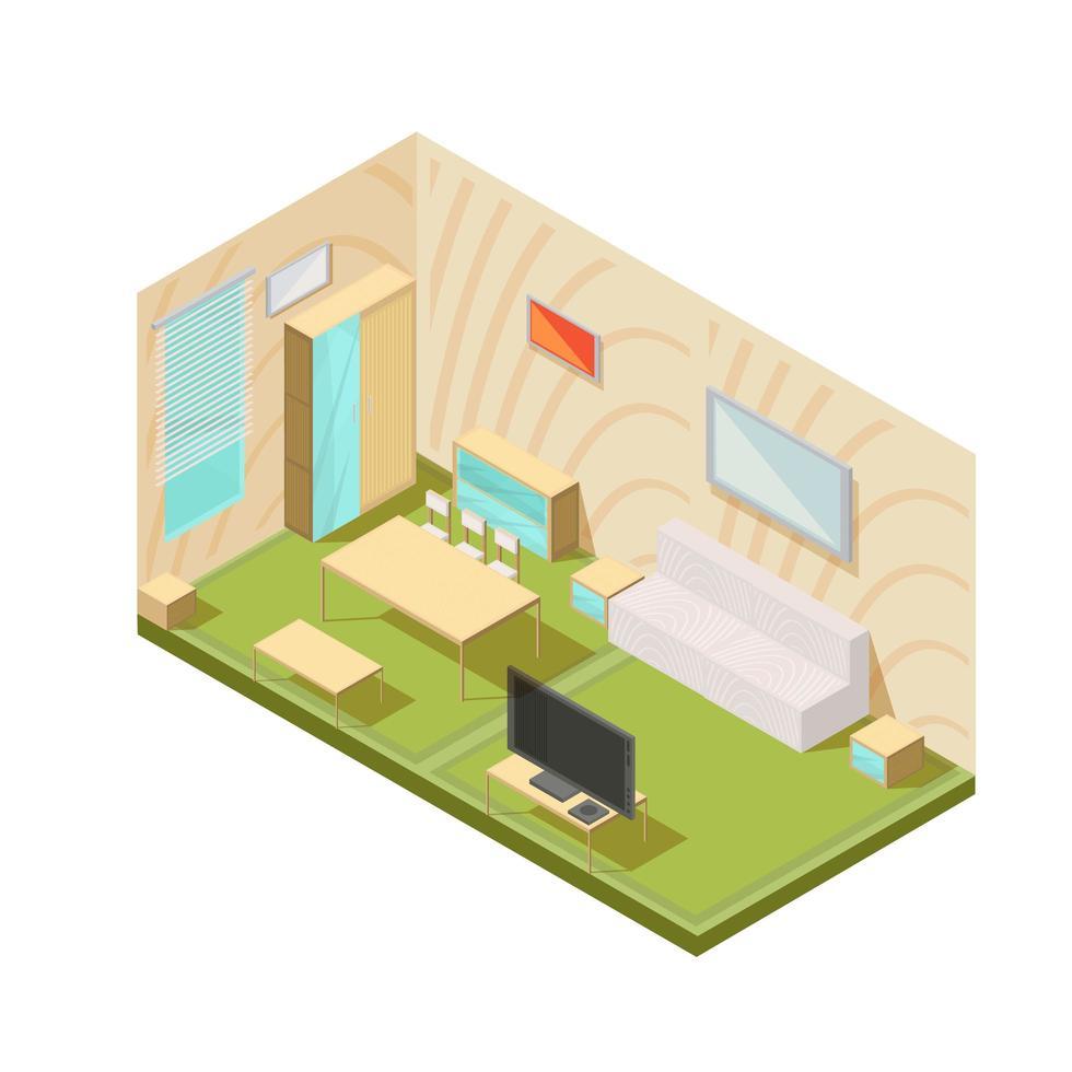 composición isométrica interior de la sala de estar vector