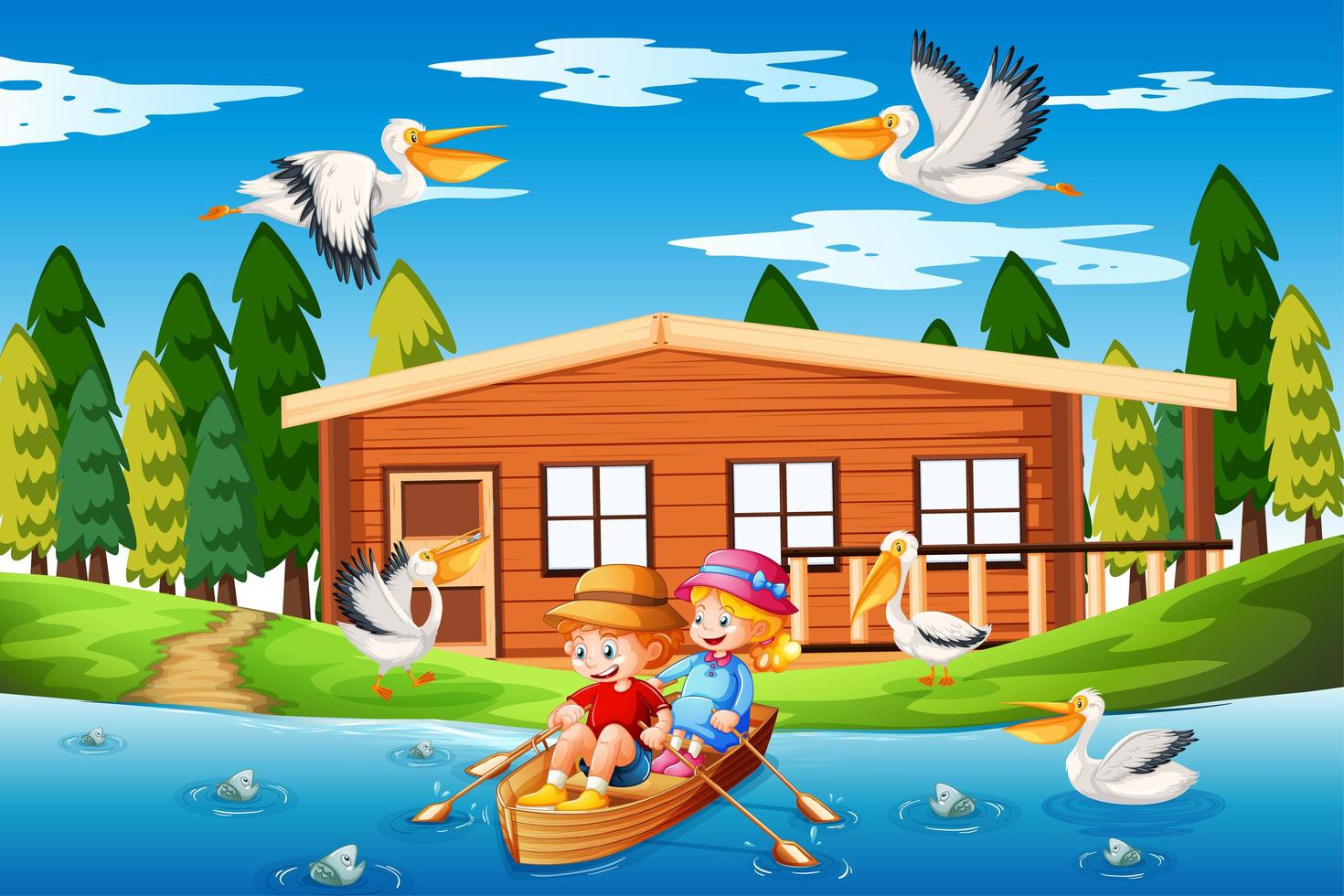 Children row the boat in the stream forest scene vector