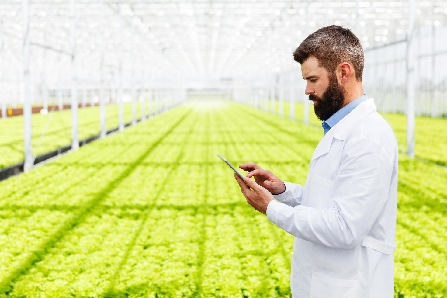 Scientist using a tablet photo