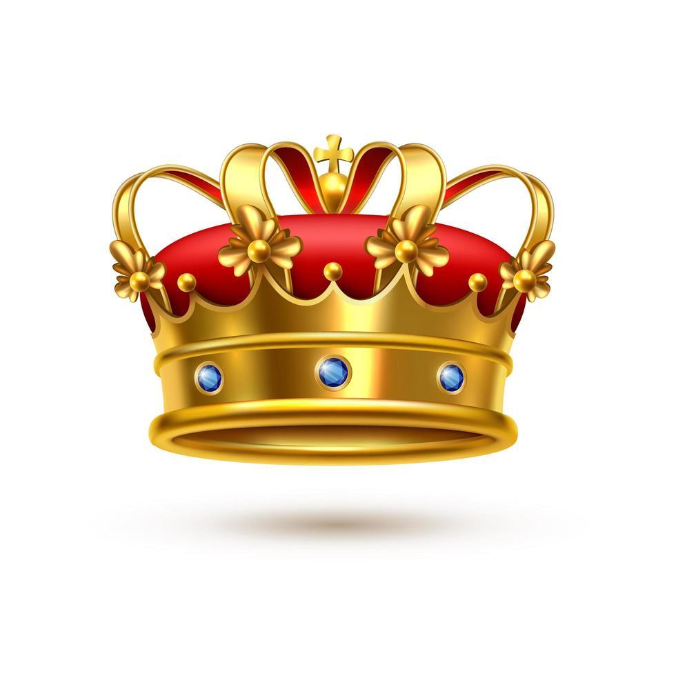corona real realista de oro y terciopelo rojo vector