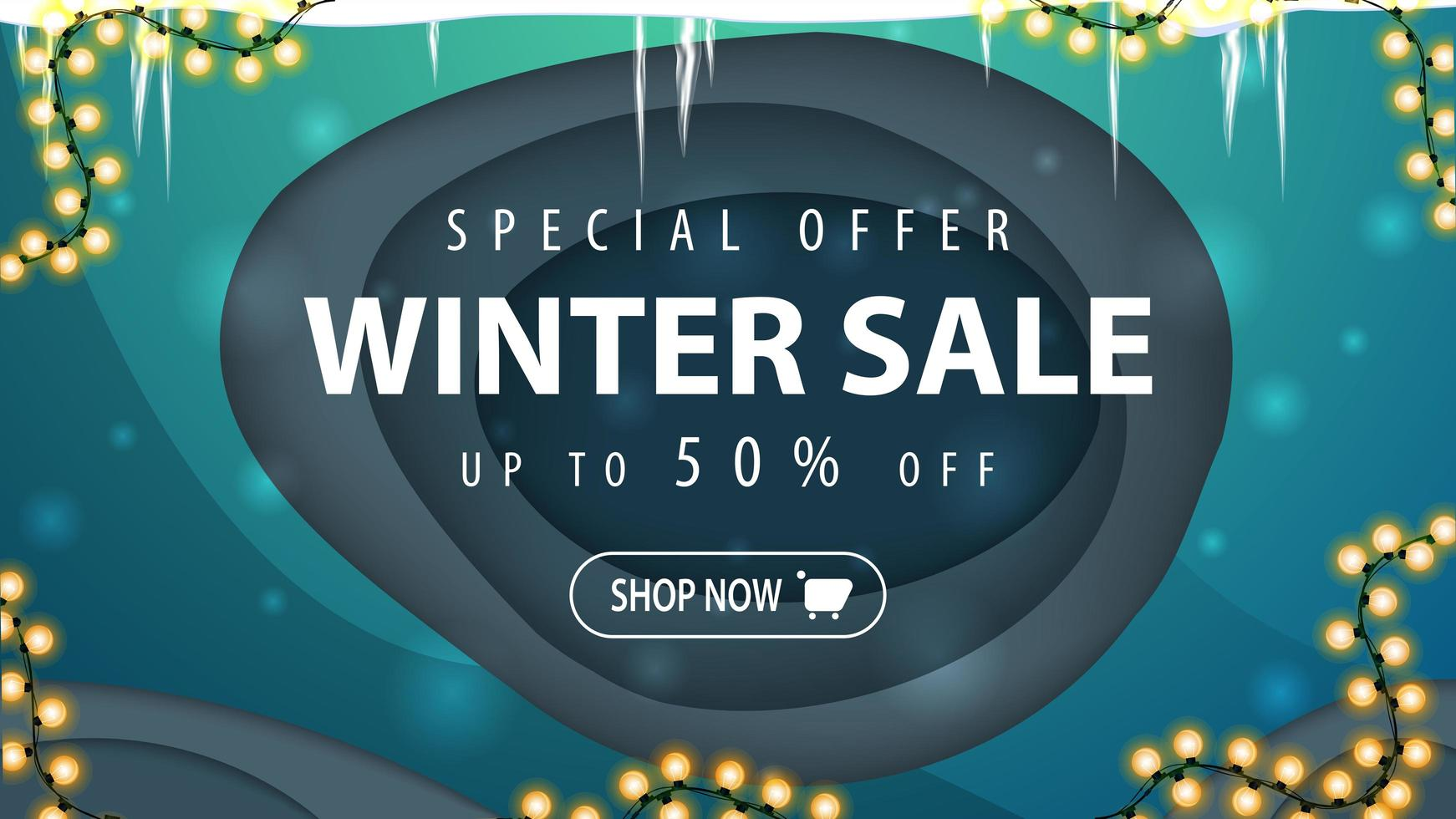 Winter sale, discount banner in paper cut style vector